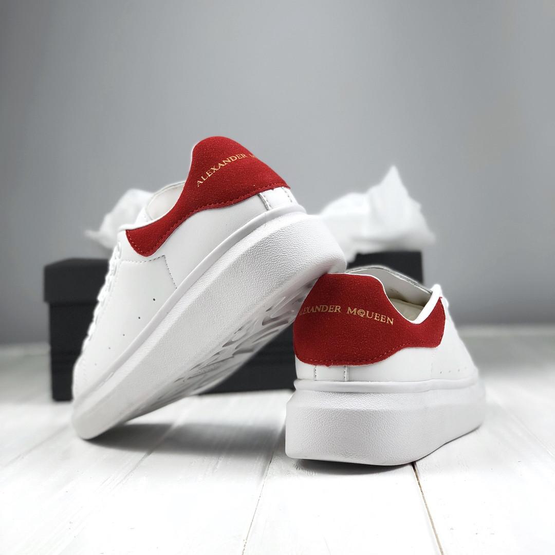 65cd559c710ce1 Alexander McQueen Oversized Sneakers White Red | кроссовки женские; белые с  красным; кожаные;