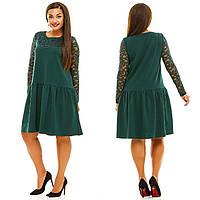 """Прямое комбинированное платье """"Джил"""" с гипюром и длинным рукавом (большие размеры)"""