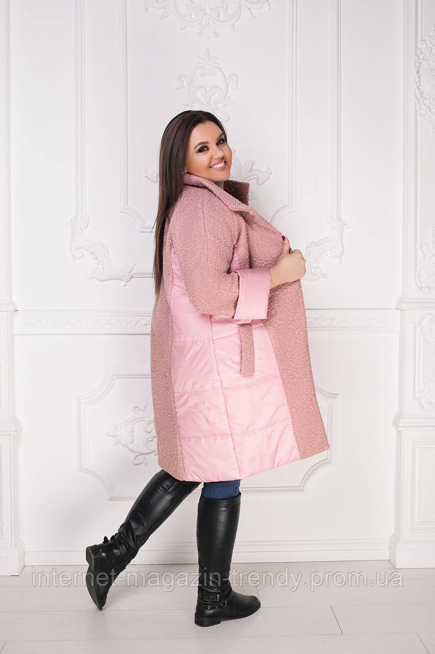 Пальто батал ,стильная модель из плащевки и букле(3 цвета)ВШР40091056