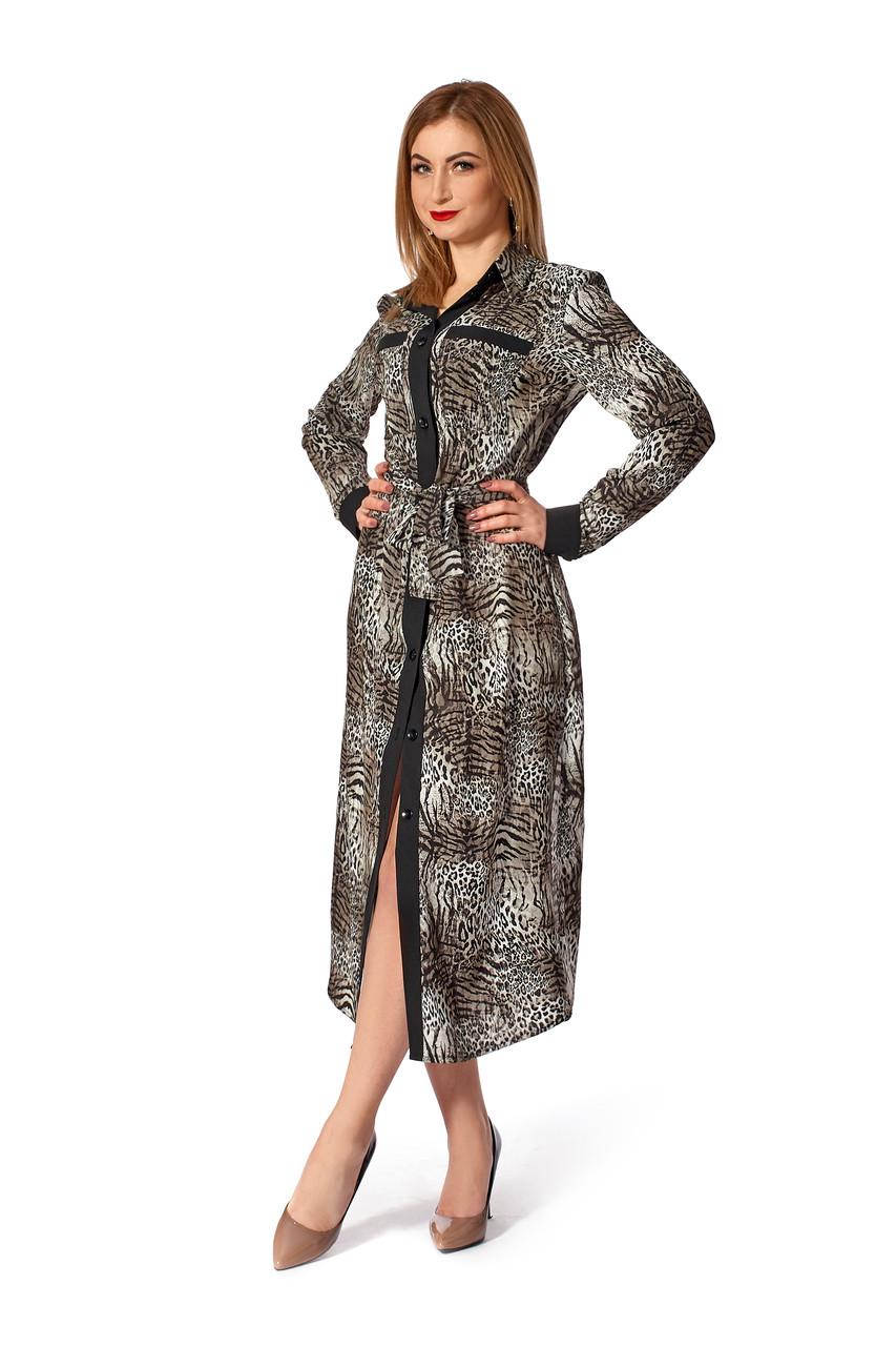 Женское платье-рубашка №1141 (тигр серый)