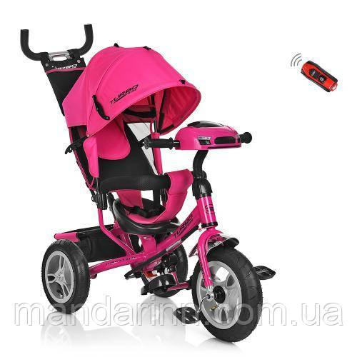 Дитячий Триколісний велосипед-коляска з фарою Турбо M 3115-6HA. Рожевий.