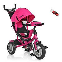Детский Трехколесный велосипед-коляска с фарой Турбо M 3115-6HA. Розовый.