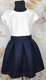 Платье для девочки  Эльза в складку  р.134-152 темно-синий +белый