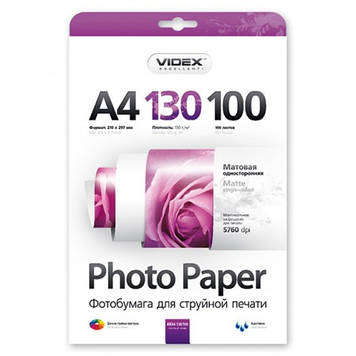 Videx Фотобумага MKA4 130/100 матовая 100 листов