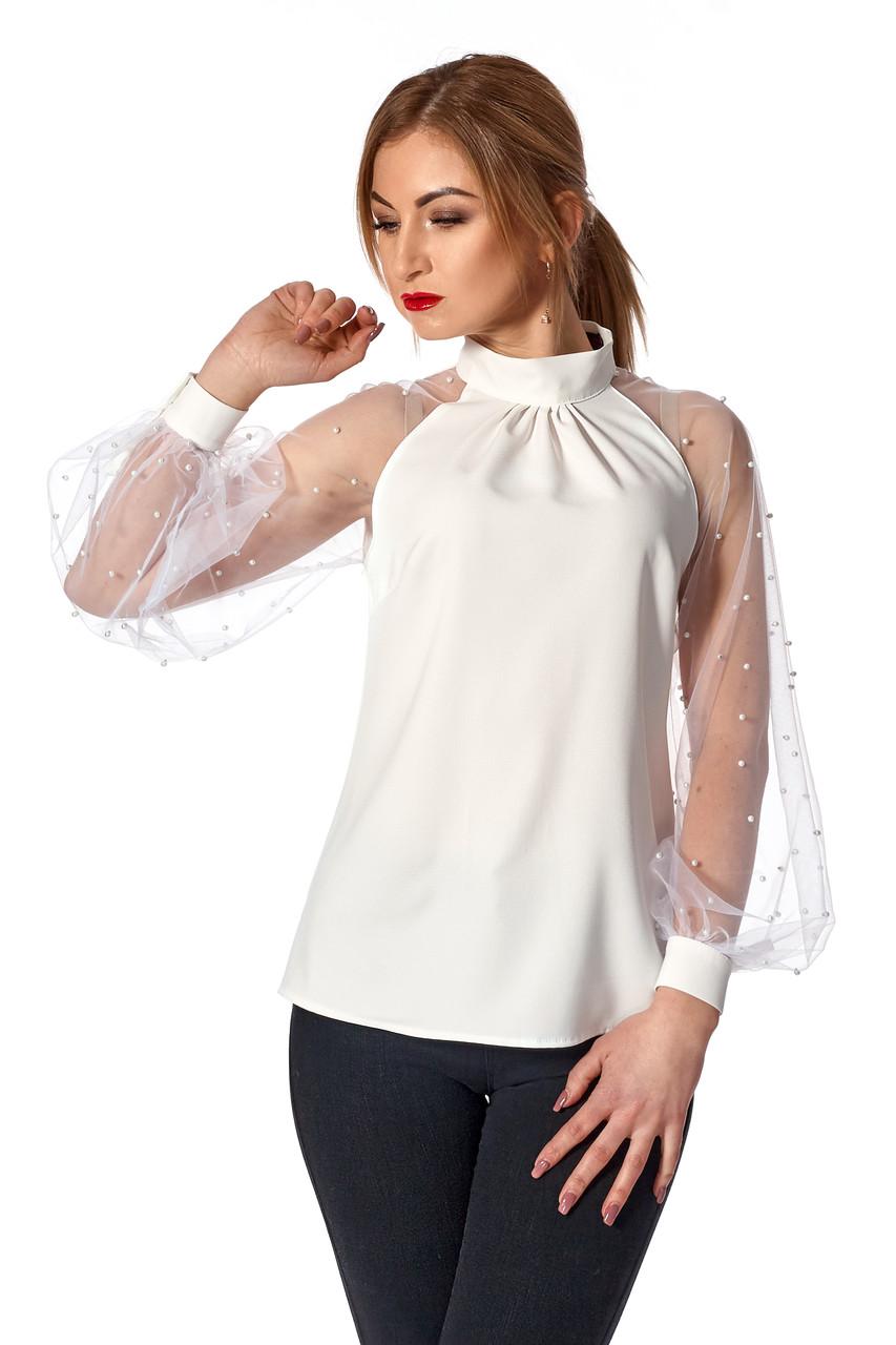 92c18f93faf Женская блузка №447 (молочный) - Интернет-магазин Ladcom в Хмельницком