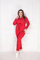 Женский стильный повседневный брючный костюм кофта+штаны двухнить размер:48-50,52-54,56-58