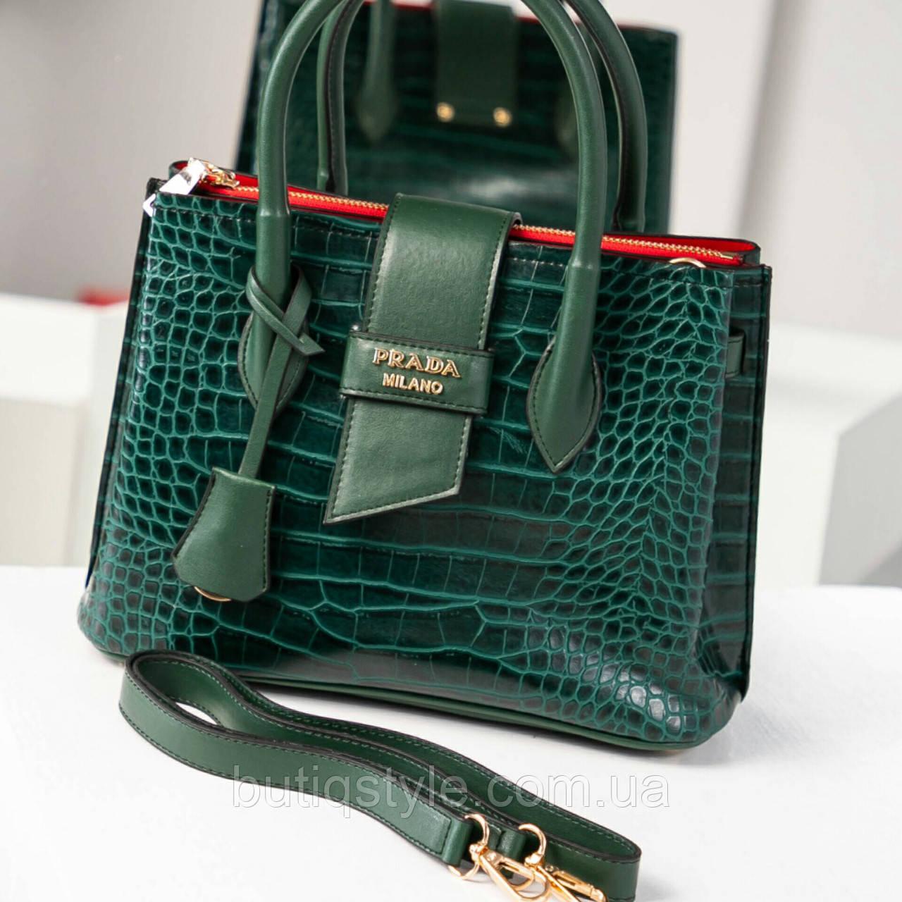 bf76da5f91dc Стильная женская зеленая сумка Prad@ экокожа с тиснением, Турция -