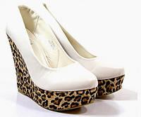 Т380 Женские туфли на платформе белые леопард