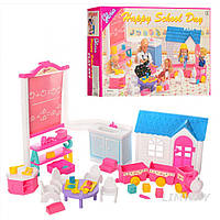 Кукольная мебель Глория Gloria 9877 Детский сад для детей Барби, стульчики, игрушки, паровозик, доска