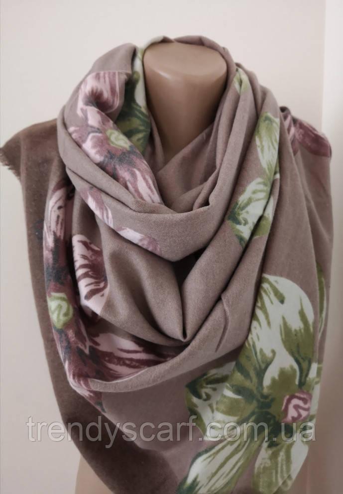 Женский Кашемировый шарф-палантин.Коричневый.Цветы Кашемир 180\75