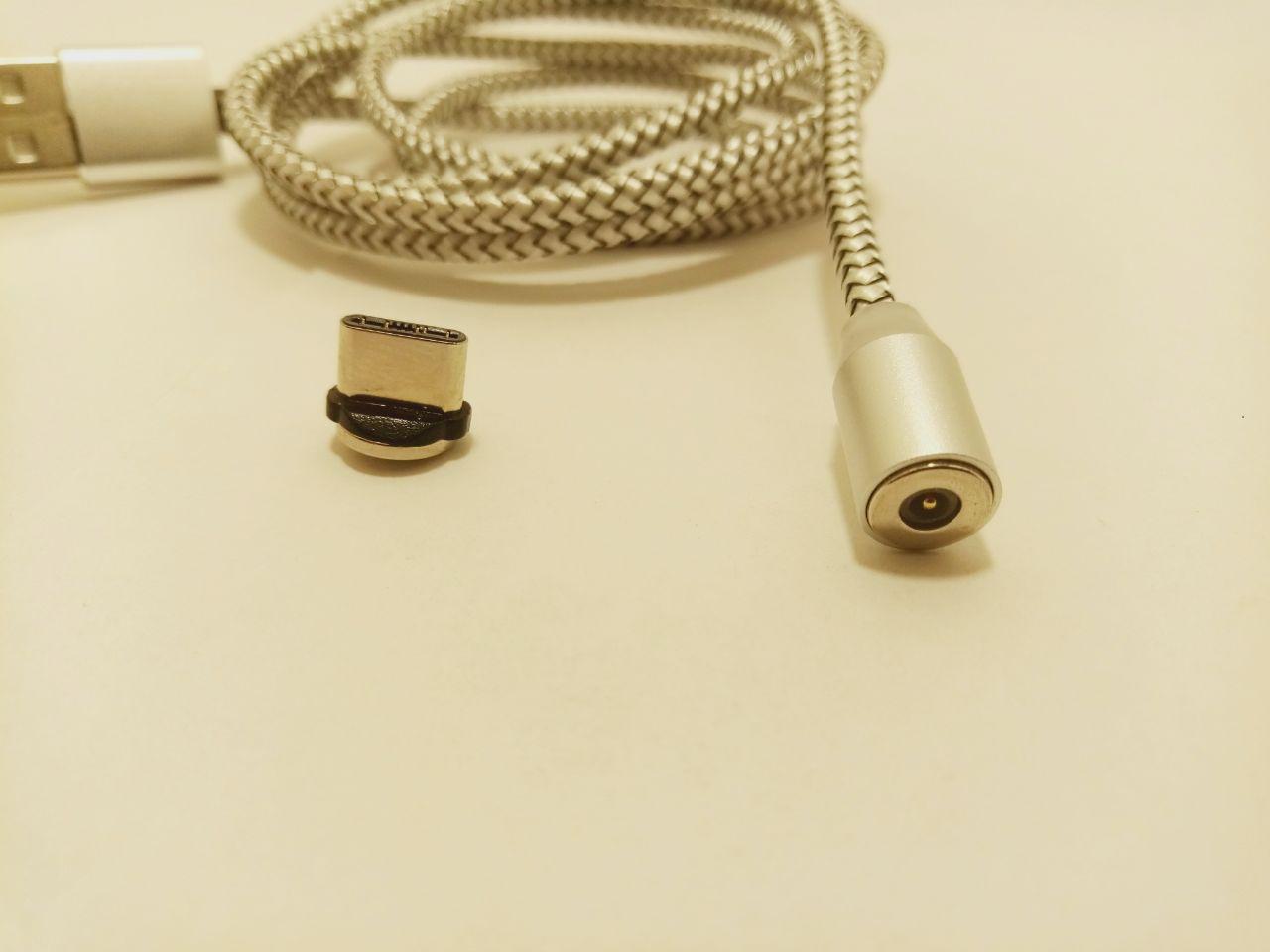Магнитный кабель Ninja USB 2.0/Type-C, 1m, 2А, индикатор заряда, тканевая оплетка, Silver