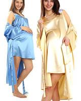 Комплект: ночная сорочка и халатик из шелка для мам. Красивые комплекта из шелка для женщин - размеры 44 - 54.