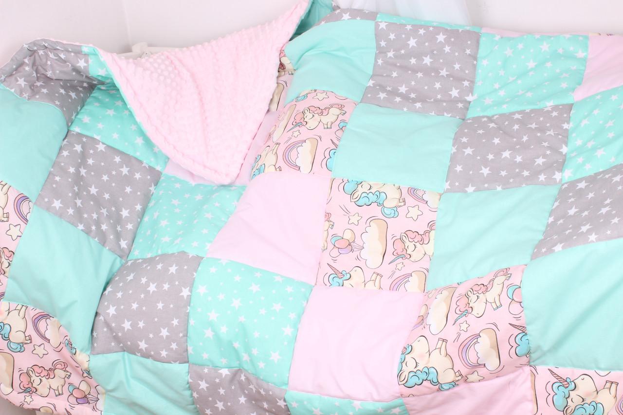 Детское теплое одеяло в розово-мятных тонах