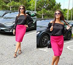 """Классическая офисная юбка-карандаш """"LISSA"""" с завышенной талией (большие размеры), фото 3"""