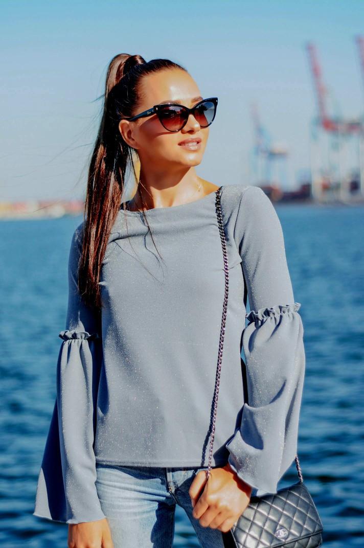 """Стильная женская блуза """"Гаванна"""" с люрексом и расклешенными рукавами (3 цвета)"""