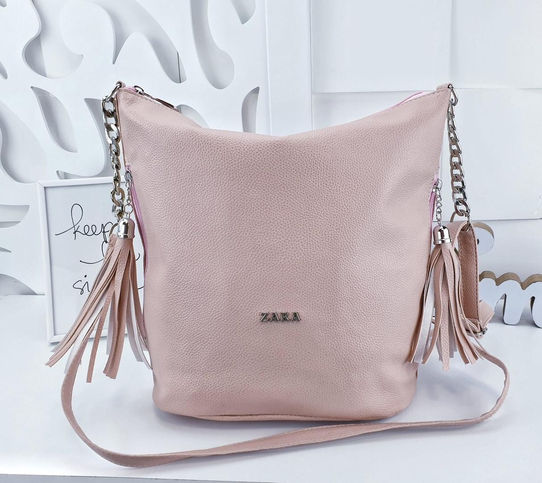 14faeb7eb9be Женская сумка Zara (копия) пудрового цвета, из структурной эко кожи - Баэль  в