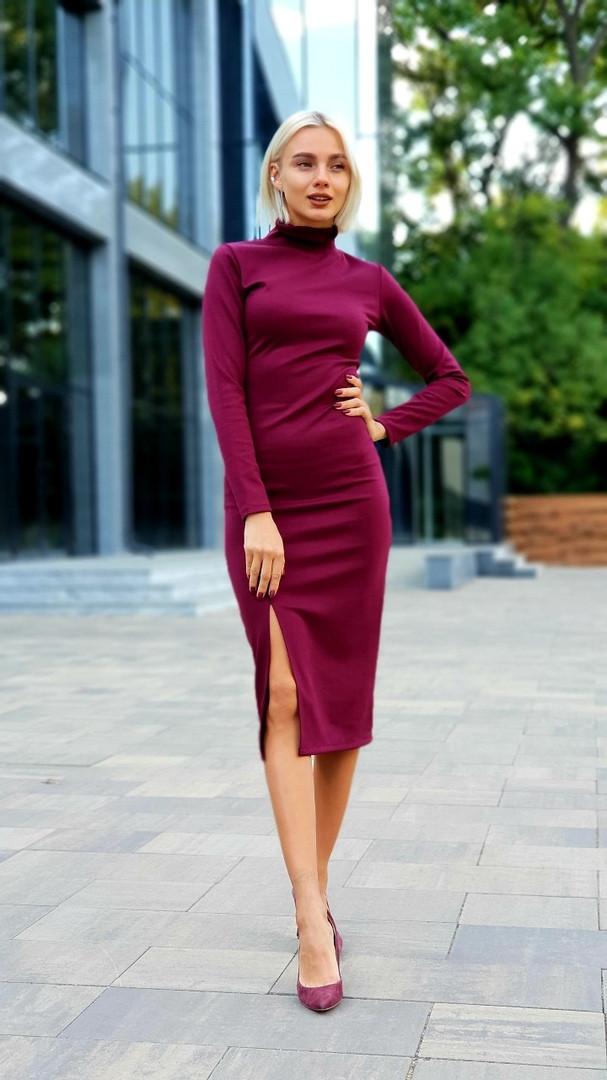 """Облегающее трикотажное платье-гольф """"Аvrora"""" с разрезом и длинным рукавом (3 цвета)"""