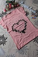 """Стильная детская футболка для девочек """"Сердечко"""" 5, 6, 7 лет.Турция!"""