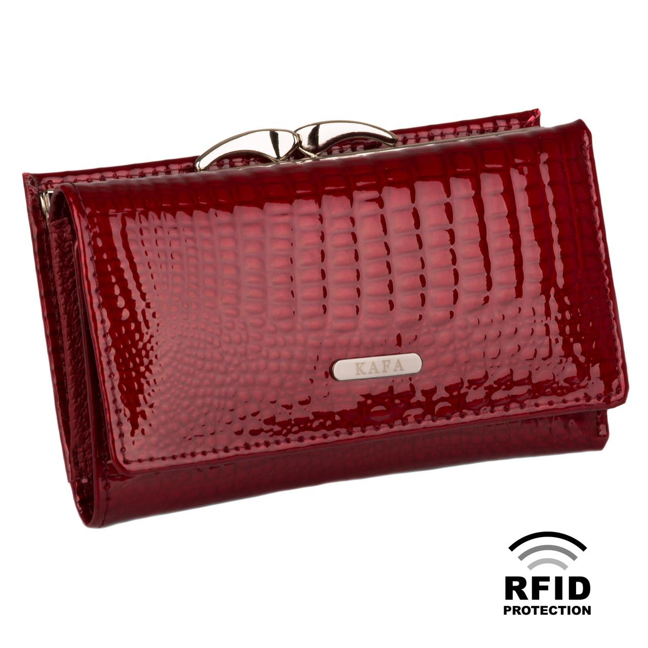 787179d7ce40 Компактный Женский Кошелек Кожаный Kafa с RFID защитой (AE214 red ...