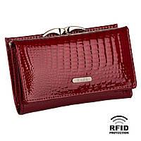 Компактный Женский Кошелек Кожаный Kafa с RFID защитой (AE214 red)
