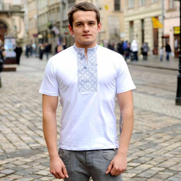 Мужская вышитая футболка с серым орнаментом размер 44-56