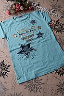 Стильная детская летняя футболка для девочек  9, 10 лет.Турция!Детская летняя одежда!