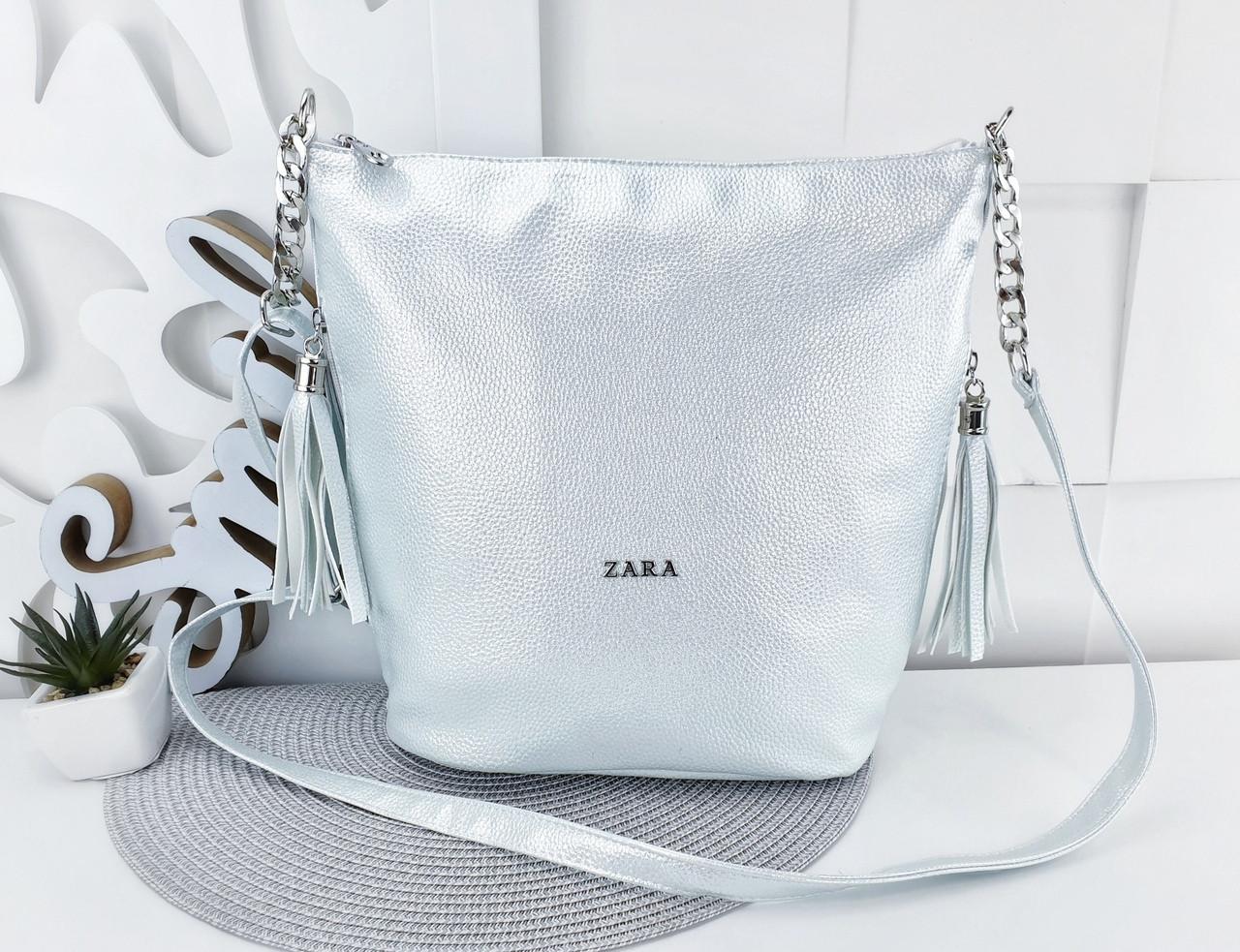 c1a200ae6c81 Женская сумка Zara (копия)светло-голубого цвета с переливом, из структурной  эко