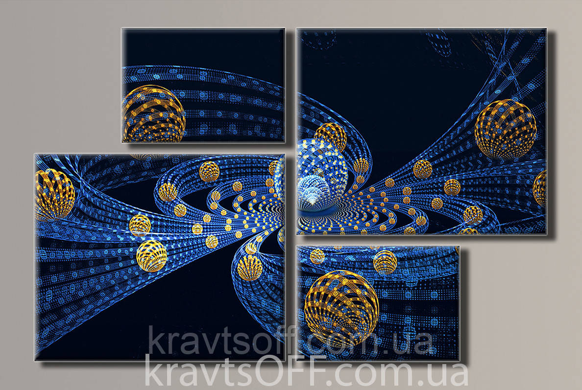 "Модульная картина на холсте из 4-х частей ""Абстракция"" ( 69х106 см )"