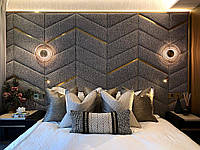 Мягкие стеновые панели с металлическими вставками, мягкие панели с профилем, панели для спальни в Одессе