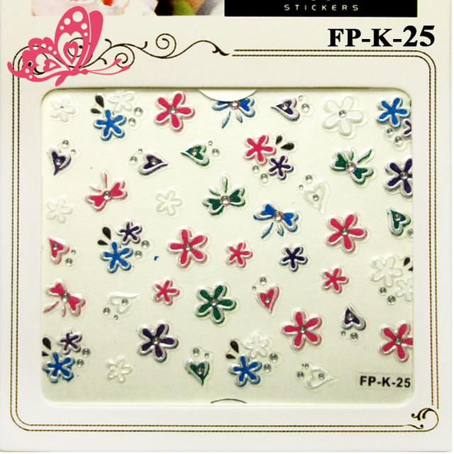 Самоклеющиеся Наклейки для Ногтей 3D Nail Sticrer FP-К-25 Яркие Цветы, Бантики, Сердечки со Стразами Камушками