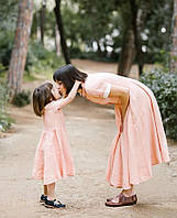 Парные комплекты - мама и дочка платье из натурального льна. Цвет на выбор, фото 1