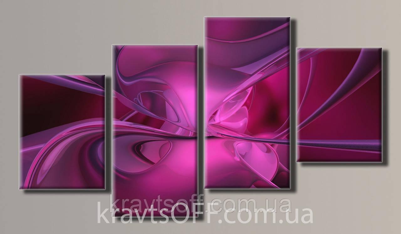 "Модульная картина на холсте из 4-х частей ""Абстракция цветок"" ( 56х102 см )"