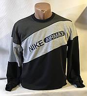 """Батник спортивный мужской бренд """"NIKE"""" размеры норма 46-52, черный с серым"""