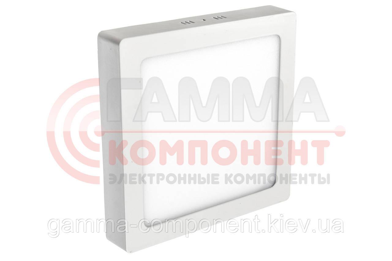 Светодиодный светильник настенно-потолочный 12Вт квадратный, пластик, белый, IP20