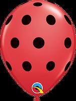"""Воздушный шар Red w/Black ink/Красный в черный горох  Q 05"""""""
