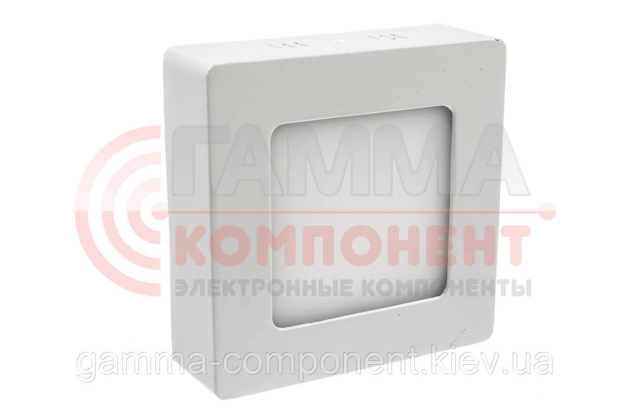 Светодиодный светильник настенно-потолочный 3Вт квадратный, пластик, теплый белый, IP20