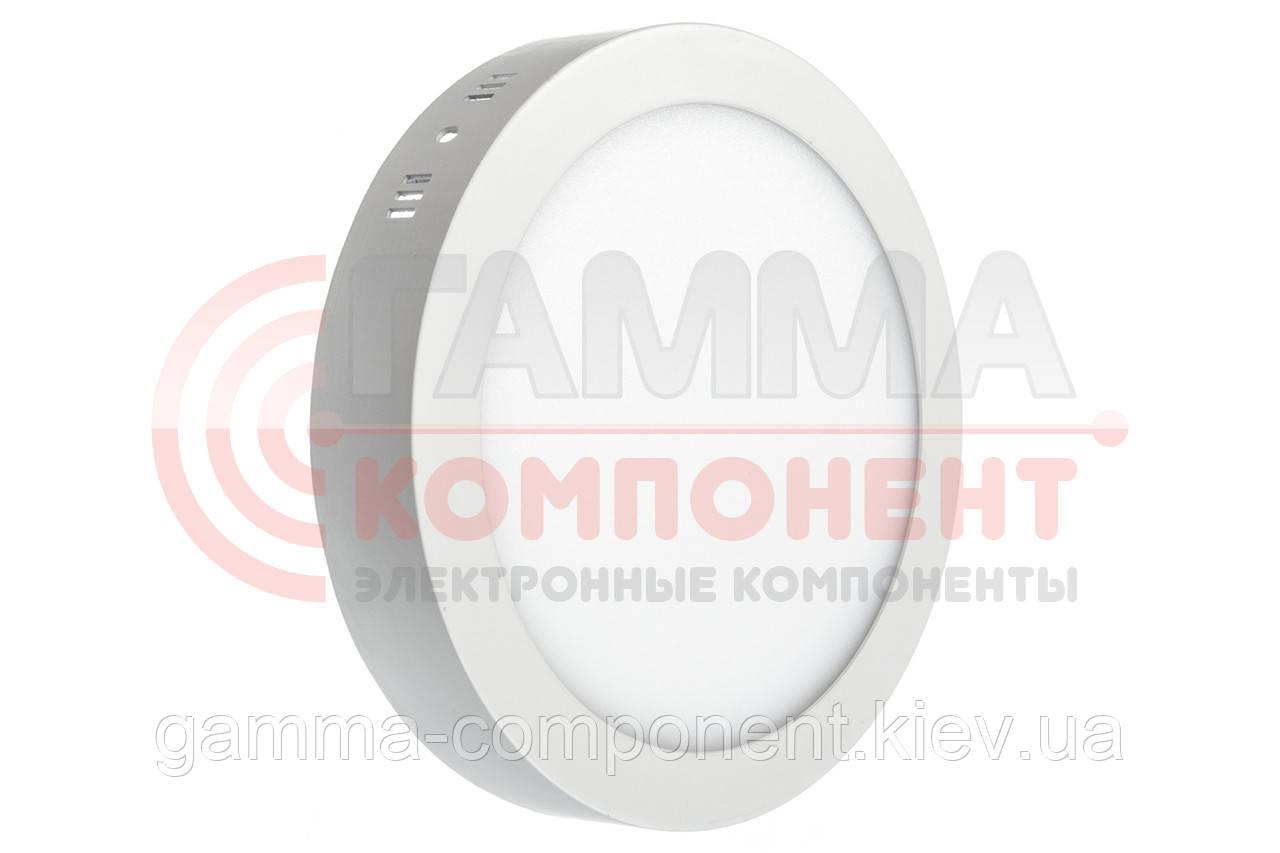 Светодиодный светильник настенно-потолочный 18Вт круглый, пластик, белый, IP20