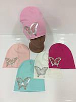 Детские демисезонные трикотажные шапки для девочек оптом, р.48-52, Olix (Польша)