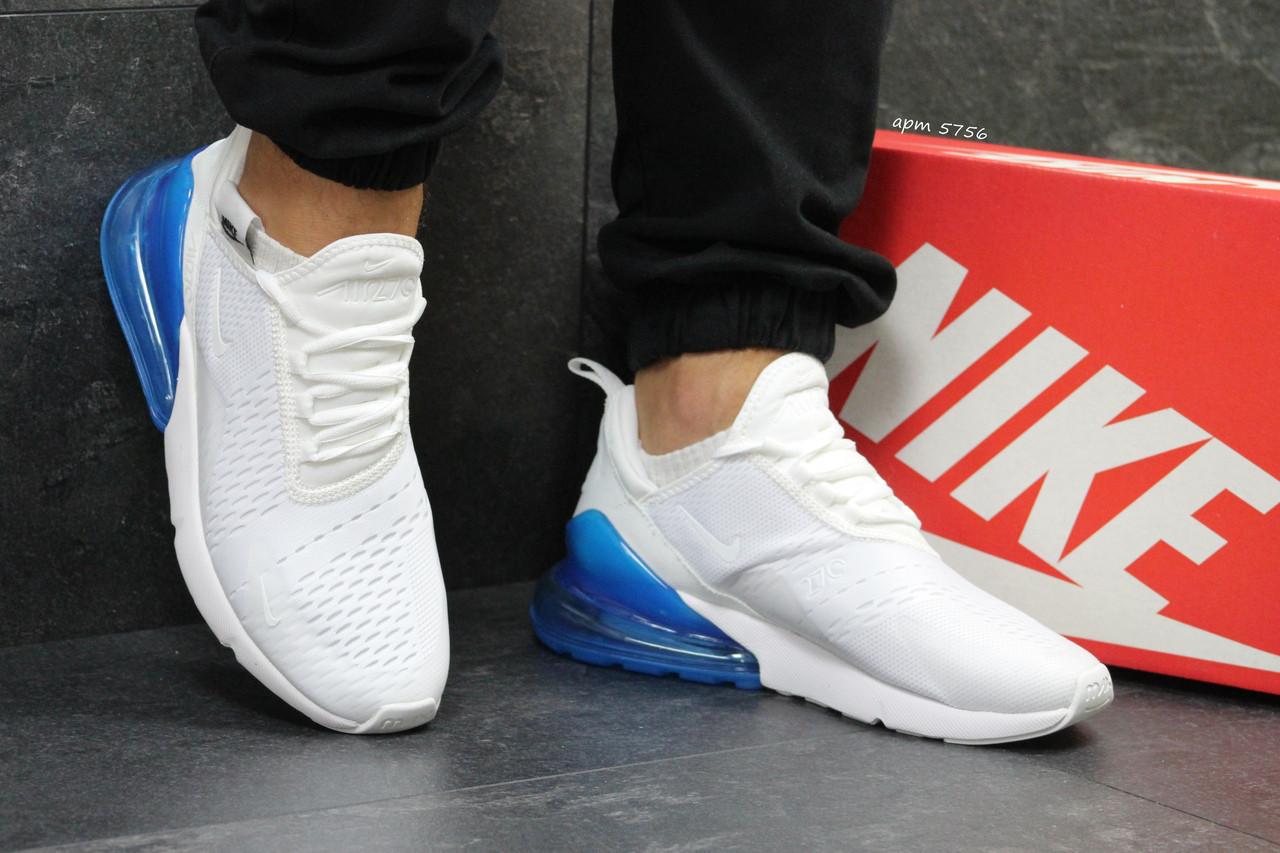 6ddf01ab Кроссовки мужские белые с синим Nike Air Max 270 5756 (найк чоловічі взуття  кроси кросівки