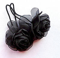 """Резинка для волос с цветами ручной работы """"Роза Черный Принц"""""""