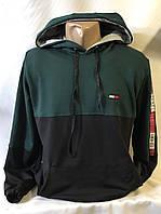 """Батник спортивныймужскойс капюшоном, бренд """"Tommy"""" размеры норма 46-52, темно-синий с зеленым"""