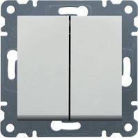 Выключатель 2-клавишный проходной (белый) Hager Lumina-2 (универсальный)