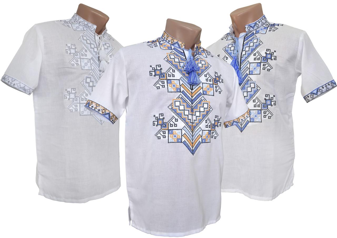 Стильная мужская вышиванка с коротким рукавом в белом цвете