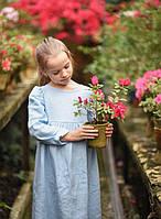 Детское платье из натурального льна. Цвет на выбор. Одежда из натурального льна для детей, фото 1