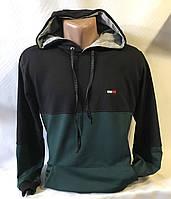 """Батник спортивный мужской с капюшоном, бренд """"Tommy"""" размеры норма 46-52, зеленый с черным"""
