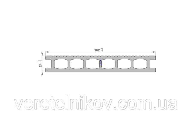 Террасная доска Хольцдорф-HOLZDORF Классик (162×24х2400 мм)