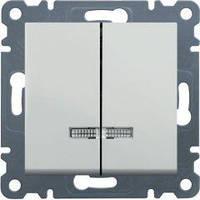 Выключатель 2-клавишный с подсветкой (белый) Hager Lumina-2