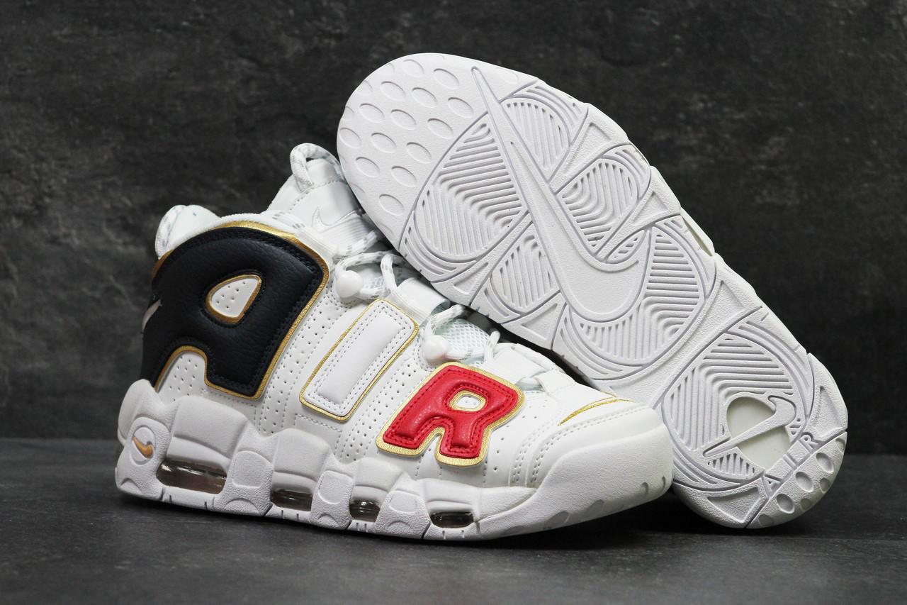 1c16d43b Кроссовки мужские белые с золотом Nike Air More Uptempo 96 5691 (найк  чоловічі кроси кросівки