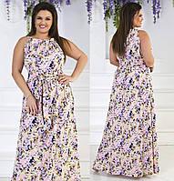 Женское платье в пол с цветочный принт, размер 50-54
