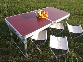 Стол для пикника усиленный с 4 стульями Rainberg RB708 (раскладной чемодан) с регулируемой высотой
